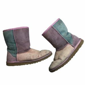 UGG Patchwork Classic Short Boots Purple/Pink/Teal